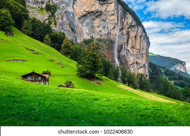 Swiss rural farm with pasture, summer green fields and high Staubbach waterfall in background, Lauterbrunnen touristic town, Bernese Oberland region, Switzerland, Europe