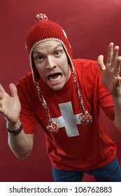Swiss sports fan crazy for his team.