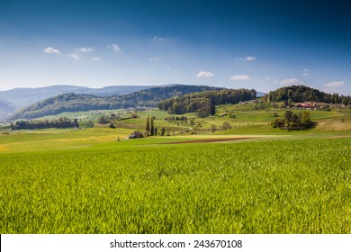 Swiss spring scenic overlook in canton Basel-Land