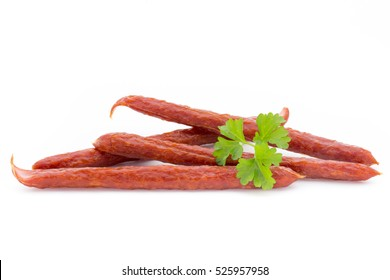 Swiss style peperoni or salami, parsley sausage. Isolated on white background.