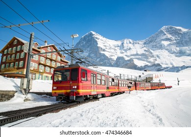 Swiss train at Kleine Scheidegg station in Jungfrau area.