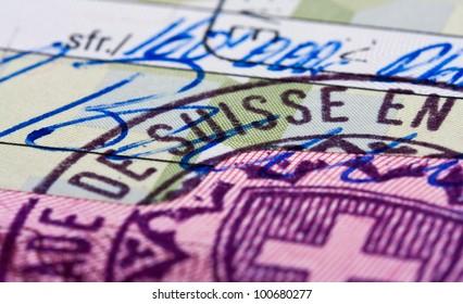 Swiss visa in the passport
