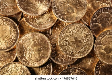 Swiss Vreneli gold coins for background use