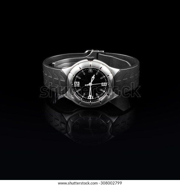 Swiss watches on black background. Product photography