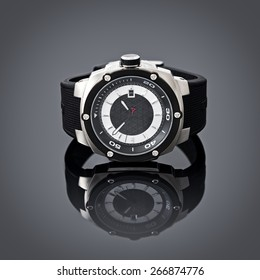 Swiss watches on gray vignette background. Product photography