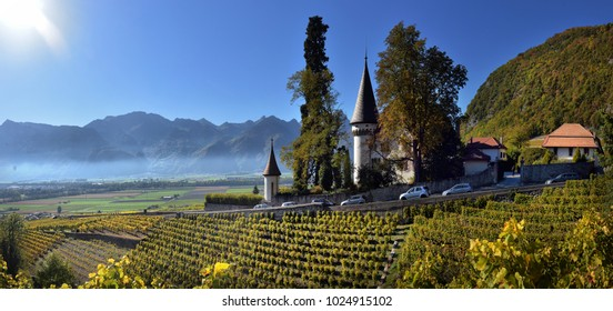 SWISS, YVORNE, 27 octobre 2017, Famous castle Chateau maison blanche  in canton Vaud, Switzerland, SWISS, YVORNE, 27 octobre 2017