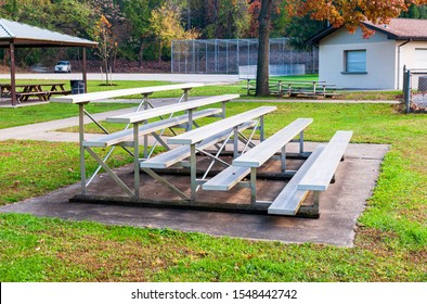 Swissvale, Pennsylvania, USA 10/29/2019 Metal bleachers for viewing sporting events at Les Getz Field in the fall