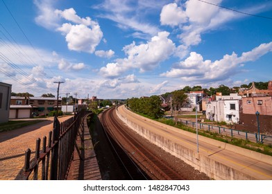 Swissvale, Pennsylvania, USA 8/18/2019 The Martin Luther King East Busway, owned and maintained by the Allegheny County Port Authority with railroad tracks seen from the Washington Street bridge