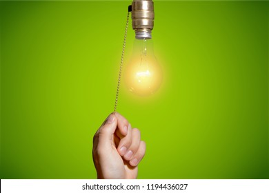 Switch light switch light bulb light lighting equipment human hand pulling