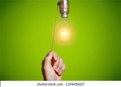 Switch light switch light bulb light lighting equipment human hand pulling