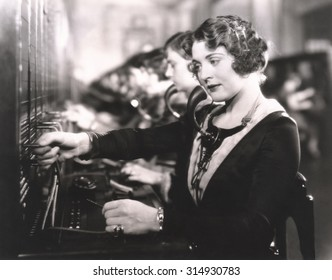 Switchboard operators at work