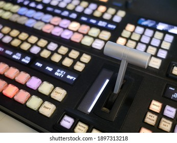 switcher buttons in studio TV station,Television Broadcast.