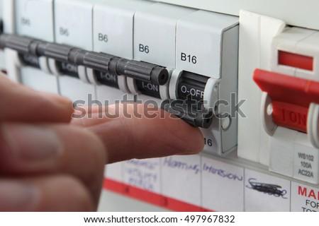 Switching mcb micro circuit breaker on stock photo edit now