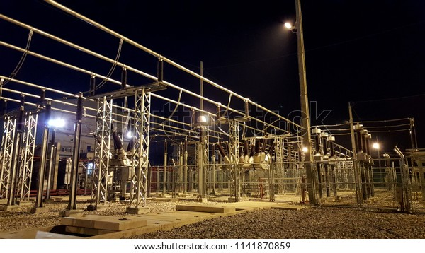 Switchyard Air Insulated Substation Hybrid Switchgear Stock Photo