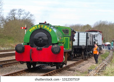 SWITHLAND, LEICESTERSHIRE, UK - APRIL 28, 2013: Bagnall 0-4-0ST No. 2572 'Judy' is guided back onto its train at Swithland Sidings, during one of the freight and shunting demonstrations at the GCR.