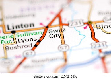 Switz City. Indiana. USA on a geography map