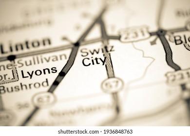 Switz City. Indiana. USA on a geography map