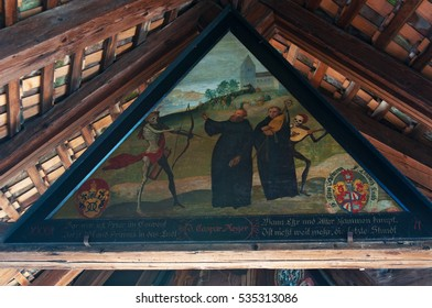 Switzerland, 08/12/2016: one of the paintings of the Danse Macabre in the triangular frames of the Spreuer Bridge, one of the two extant covered wooden footbridges of the medieval city of Lucerne