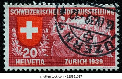 SWITZERLAND - 1939: A stamp printed in Switzerland to commemorate the Switzerland national exhibition, Zurich 1939, circa 1939