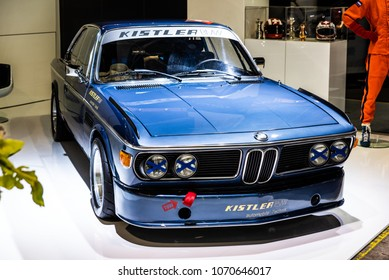 Zürich, Switzerland 3. November 2017 Front side view of a classic BMW 3.0 CSI race car at AutoZürich car show.
