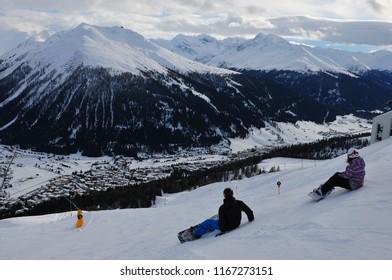 Switzerland: Above Davos-City on Parsenn mountain looking to the Jakobshorn