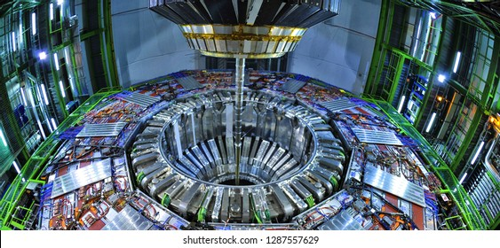 Geneève / Switzerland - April 2010 : CERN the European Organization for Nuclear Research where the Higgs boson was detected in 2012 in the ATLAS and CMS experiments, conducted with the LHC accelerator