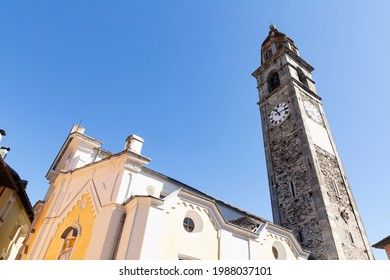 Switzerland, Ascona, 1 Sept 20. View on the Saint Peter and Paul church in the old town