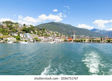 Switzerland, Ascona, 1 Sept 20. View on the waterfront from a passenger boat on the lago Maggiore