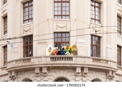 Switzerland, Basel, March 3rd 2020. Basel carnival cancelled due to corona virus pandemic. Decoration still standing.