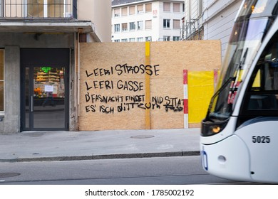 Switzerland, Basel, March 3rd 2020. Poem on the wall protesting the cancellation of the basel carnival due to corona virus pandemic