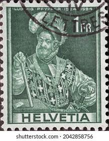 Switzerland - Circa 1941: a postage stamp printed in the Switzerland showing a portrait of Colonel and statesman Ludwig Pfyffer von Altishofen