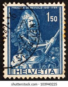 SWITZERLAND - CIRCA 1941: a stamp printed in the Switzerland shows Francois de Reynold, Soldier, circa 1941