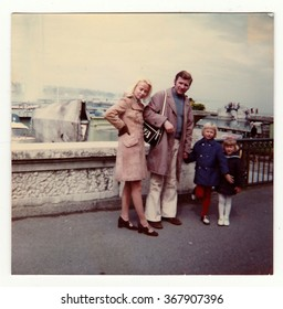 SWITZERLAND, CIRCA 1970s: Vintage photo shows family on vacation, circa 1970s.