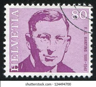 SWITZERLAND - CIRCA 1971: stamp printed by Switzerland, shows Frederick Banting, circa 1971
