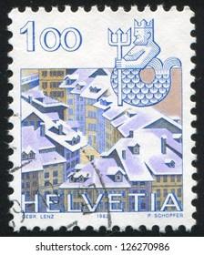 SWITZERLAND - CIRCA 1982: stamp printed by Switzerland, shows Aquarius, Old Bern, circa 1982