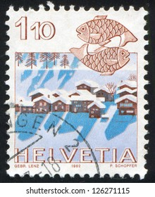 SWITZERLAND - CIRCA 1982: stamp printed by Switzerland, shows Pisces, Nax near Sion, circa 1982