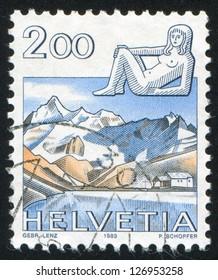 SWITZERLAND - CIRCA 1983: stamp printed by Switzerland, shows Virgo, Schwarzee above Zermatt, circa 1983