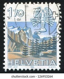 SWITZERLAND - CIRCA 1983: stamp printed by Switzerland, shows Cancer, Wetterhorn, Grindelwald, circa 1983