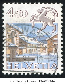 SWITZERLAND - CIRCA 1984: stamp printed by Switzerland, shows Capricorn, Schuls, circa 1984