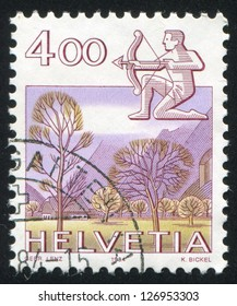 SWITZERLAND - CIRCA 1984: stamp printed by Switzerland, shows Sagittarius, Glarus, circa 1984