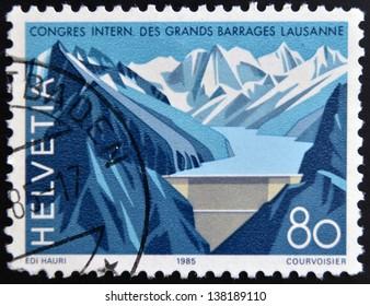 SWITZERLAND - CIRCA 1985: A stamp printed in Switzerland dedicated to the International Congress on Large Dams, Lausanne, shown Grande Dizence Dam, Canton Valais, circa 1985