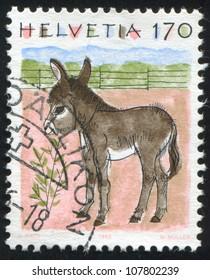 SWITZERLAND - CIRCA 1993: stamp printed by Switzerland, shows Donkey, circa 1993