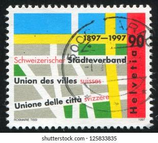 SWITZERLAND - CIRCA 1997: stamp printed by Switzerland, shows Swiss municipalities union, circa 1997