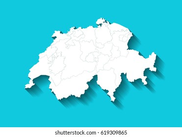 switzerland country map with long shadow