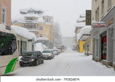 SWITZERLAND, DAVOS -CIRCA JAN 2012 - Promenade covered by snow in Davos during winter