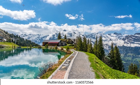 Switzerland, Engelberg, Shonegg lake with alps