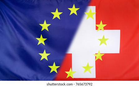 Switzerland and European Union relations concept with diagonally merged flags