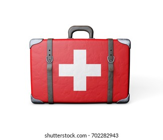 Switzerland flag on a vintage leather suitcase. 3D Rendering