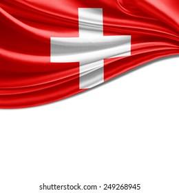 Switzerland flag and white background