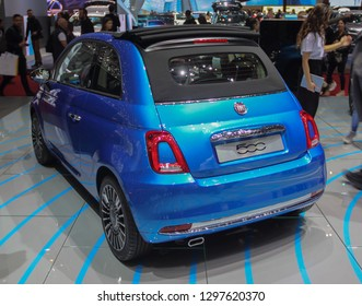 Switzerland; Geneva; March 10, 2018; Fiat 500 convertible rear side; The 88th International Motor Show in Geneva from 8th to 18th of March, 2018.